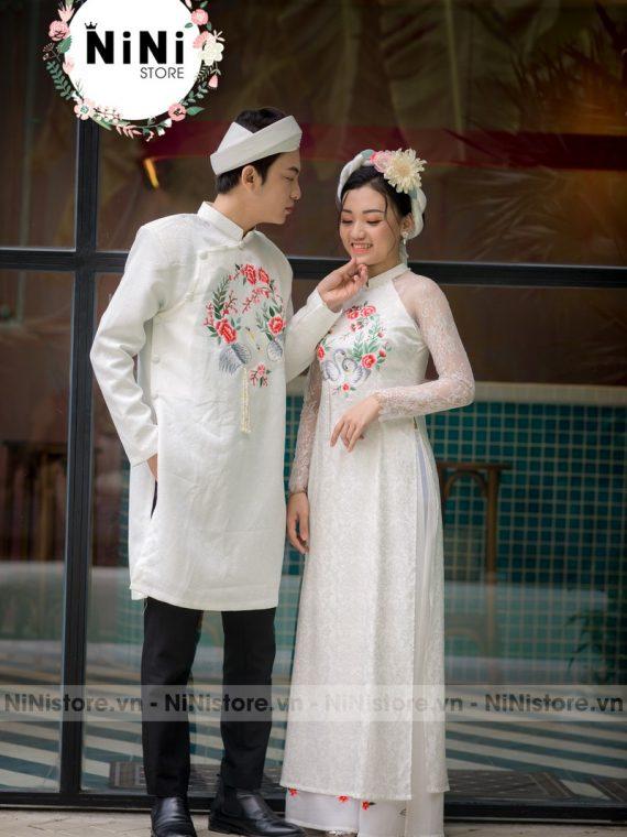 Mẫu áo dài đám hỏi cô dâu chú rể đơn giản