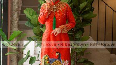 Top 20 mẫu áo dài cô dâu màu đỏ đơn giản đẹp duyên dáng 2021