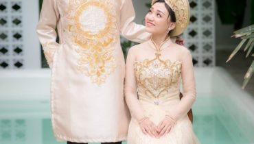 10 mẫu áo dài cô dâu chú rể màu vàng đơn giản 2021
