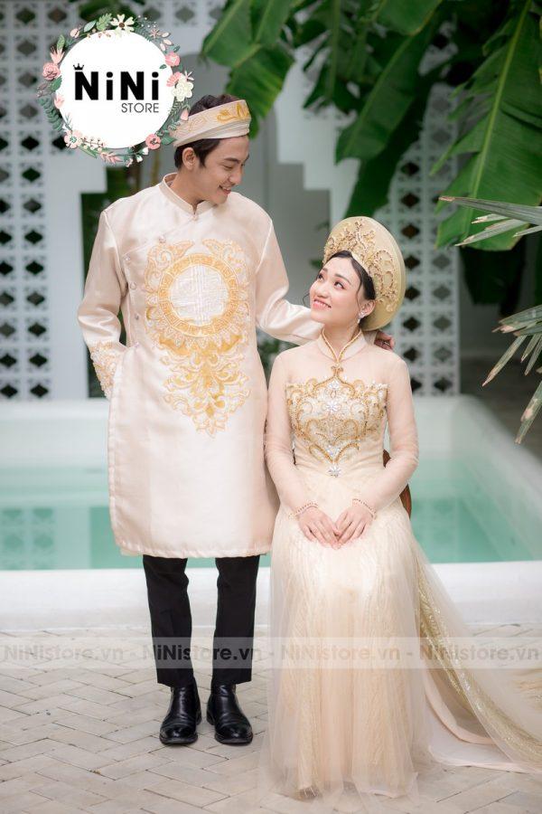 10 mẫu áo dài cô dâu chú rể màu vàng đơn giản 2020