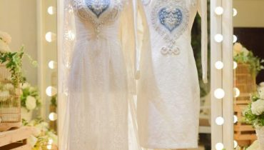 40+ Mẫu áo dài màu Trắng cưới đẹp 2020: đơn giản, gấm, đính đá, lụa, cách tân,…