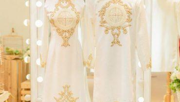 Xu hướng áo dài cưới màu trắng đơn giản mới nhất 2021