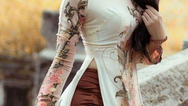 10 mẫu áo dài quần satin bóng mỏng gợi cảm hot nhất 2021