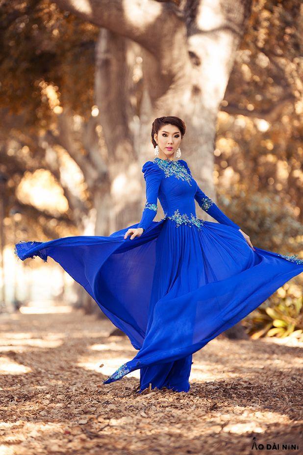 Top 15 Mẫu áo dài cưới màu xanh dương đậm, ngọc bích trơn