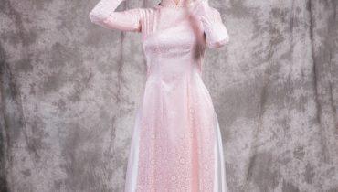 Top 10 Mẫu áo dài trơn màu hồng phấn đẹp nhất 2021