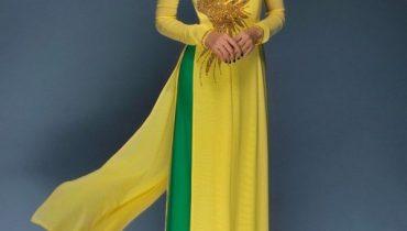 Cách phối màu áo dài màu vàng với quần xanh đẹp ngất ngây